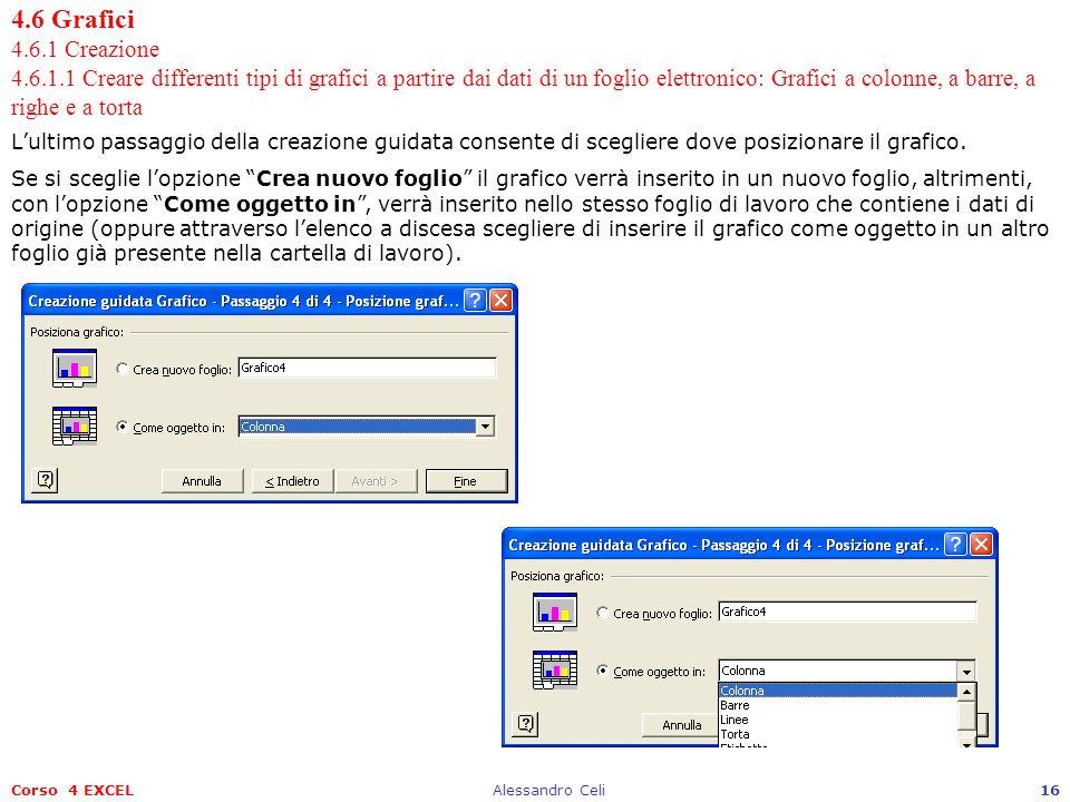 Corso 4 EXCELAlessandro Celi16 4.6 Grafici 4.6.1 Creazione 4.6.1.1 Creare differenti tipi di grafici a partire dai dati di un foglio elettronico: Graf
