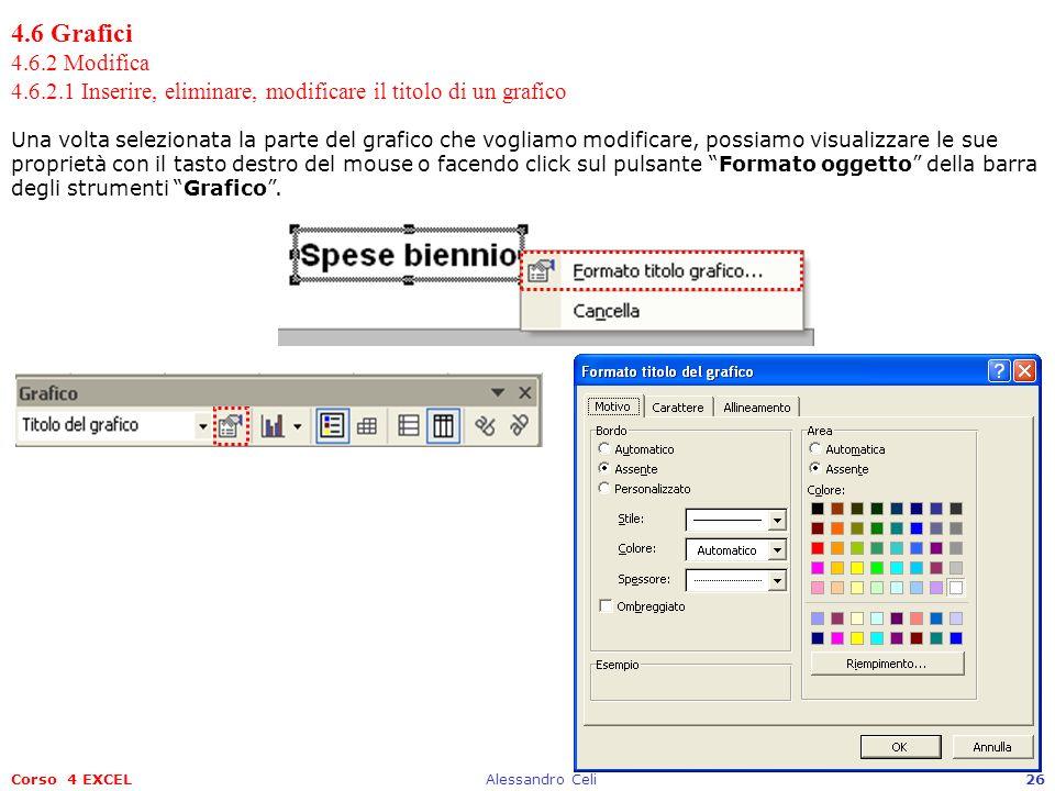 Corso 4 EXCELAlessandro Celi26 4.6 Grafici 4.6.2 Modifica 4.6.2.1 Inserire, eliminare, modificare il titolo di un grafico Una volta selezionata la par