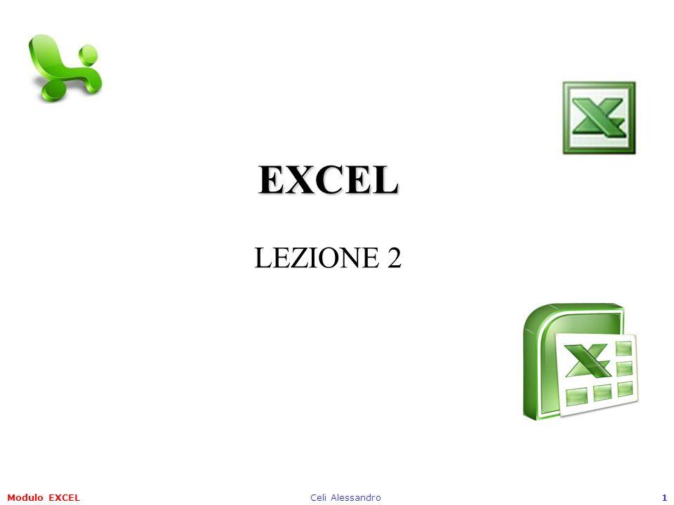 Modulo EXCELCeli Alessandro12 4.2 Celle 4.2.1 Inserire e selezionare i dati 4.2.1.3 Inserire un numero, una data o del testo in una cella Per inserire del testo, date o numeri in una cella di excel è sufficiente selezionarla ed iniziare a scrivere con la tastiera.
