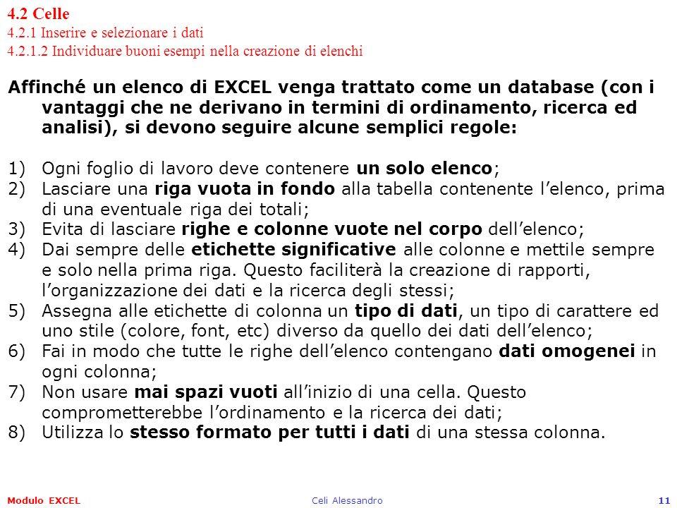 Modulo EXCELCeli Alessandro11 4.2 Celle 4.2.1 Inserire e selezionare i dati 4.2.1.2 Individuare buoni esempi nella creazione di elenchi Affinché un el