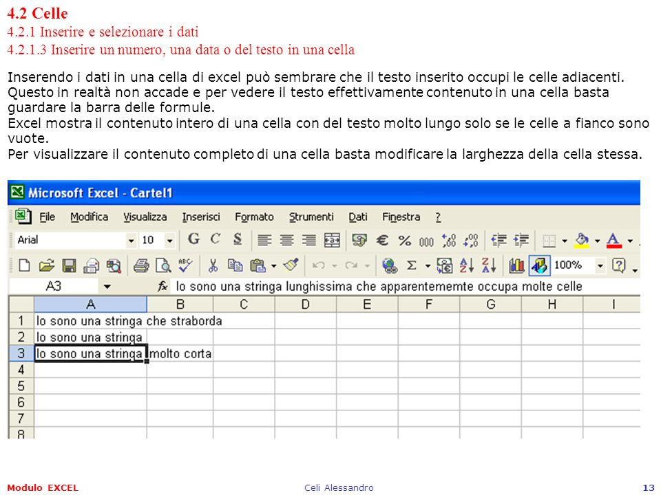 Modulo EXCELCeli Alessandro13 4.2 Celle 4.2.1 Inserire e selezionare i dati 4.2.1.3 Inserire un numero, una data o del testo in una cella Inserendo i