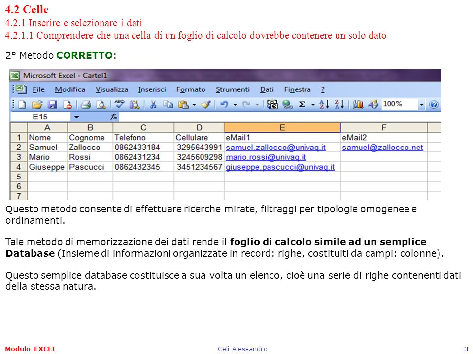 Modulo EXCELCeli Alessandro3 4.2 Celle 4.2.1 Inserire e selezionare i dati 4.2.1.1 Comprendere che una cella di un foglio di calcolo dovrebbe contener