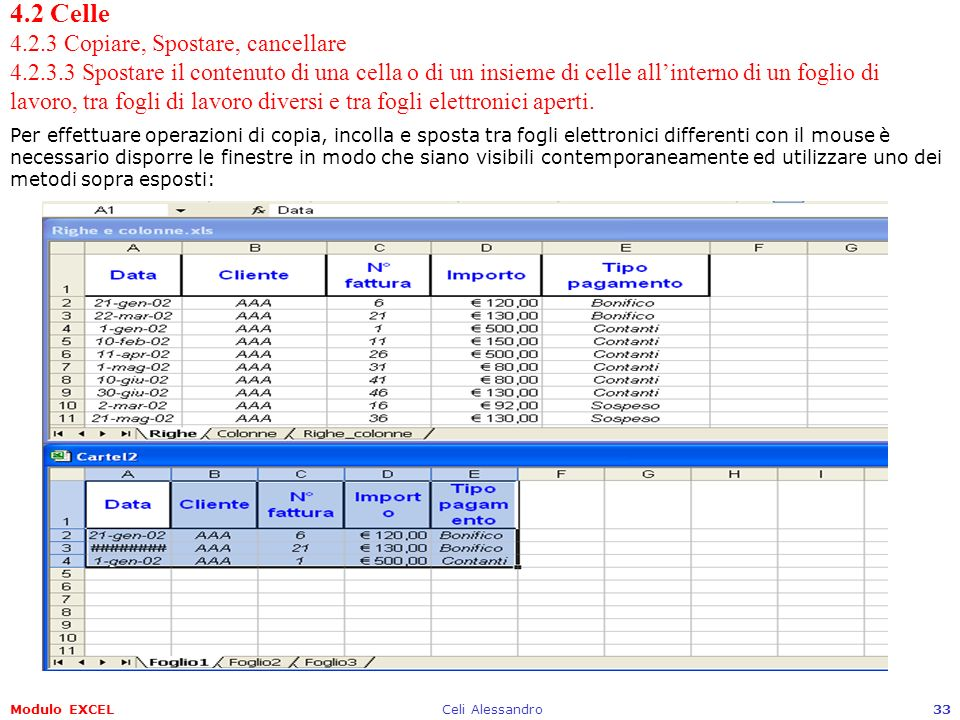 Modulo EXCELCeli Alessandro33 4.2 Celle 4.2.3 Copiare, Spostare, cancellare 4.2.3.3 Spostare il contenuto di una cella o di un insieme di celle allint