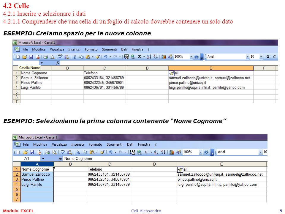 Modulo EXCELCeli Alessandro6 4.2 Celle 4.2.1 Inserire e selezionare i dati 4.2.1.1 Comprendere che una cella di un foglio di calcolo dovrebbe contenere un solo dato ESEMPIO: Menu Dati Testo in colonne…