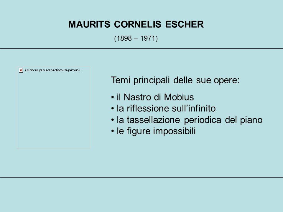 MAURITS CORNELIS ESCHER (1898 – 1971) Temi principali delle sue opere: il Nastro di Mobius la riflessione sullinfinito la tassellazione periodica del piano le figure impossibili