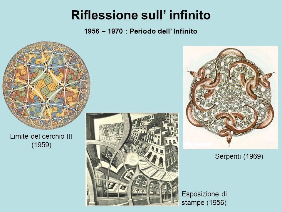 Riflessione sull infinito 1956 – 1970 : Periodo dell Infinito Limite del cerchio III (1959) Serpenti (1969) Esposizione di stampe (1956)