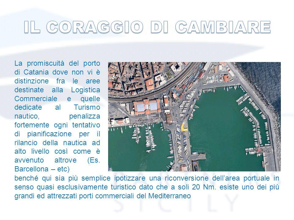 La promiscuità del porto di Catania dove non vi è distinzione fra le aree destinate alla Logistica Commerciale e quelle dedicate al Turismo nautico, penalizza fortemente ogni tentativo di pianificazione per il rilancio della nautica ad alto livello così come è avvenuto altrove (Es.