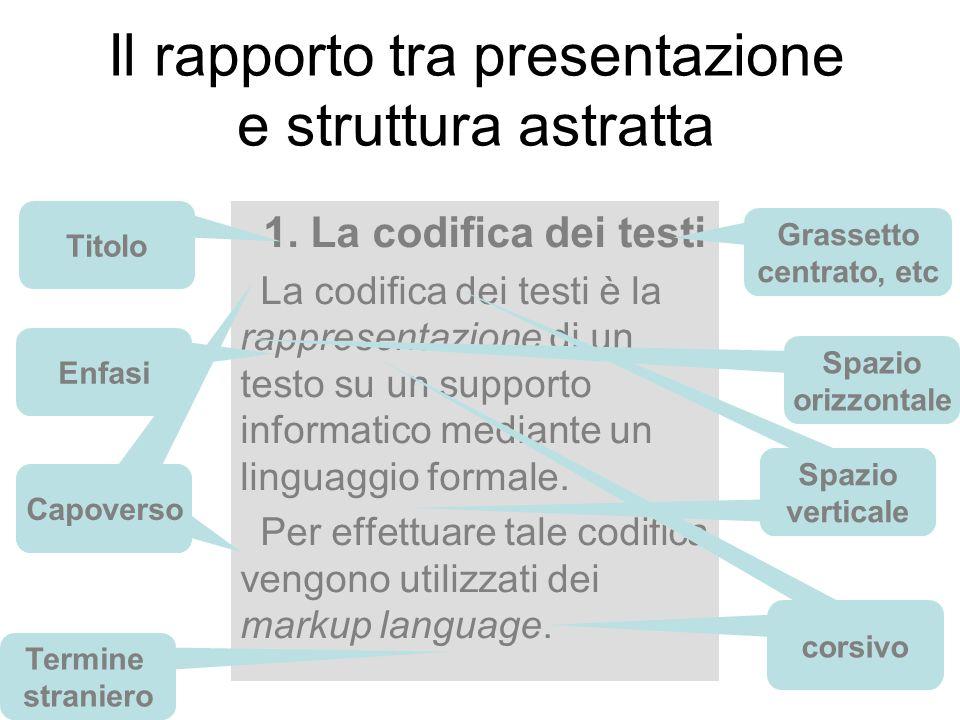 12 1. La codifica dei testi La codifica dei testi è la rappresentazione di un testo su un supporto informatico mediante un linguaggio formale. Per eff