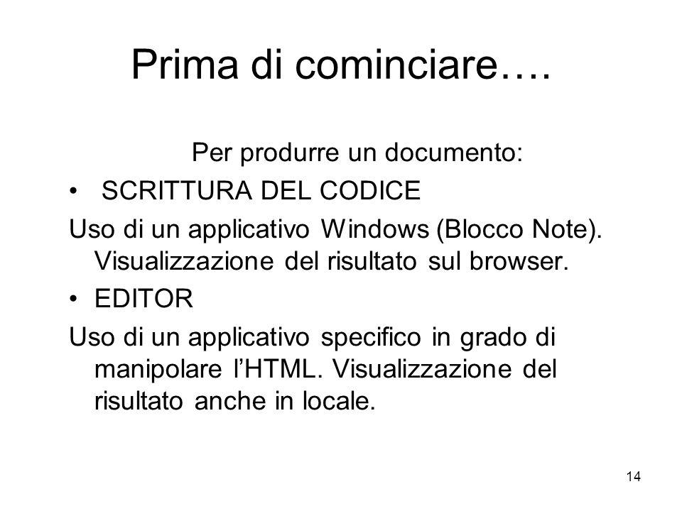 14 Prima di cominciare…. Per produrre un documento: SCRITTURA DEL CODICE Uso di un applicativo Windows (Blocco Note). Visualizzazione del risultato su