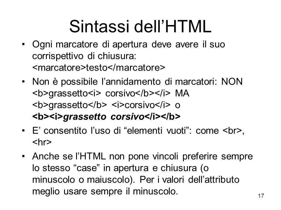 17 Sintassi dellHTML Ogni marcatore di apertura deve avere il suo corrispettivo di chiusura: testo Non è possibile lannidamento di marcatori: NON gras