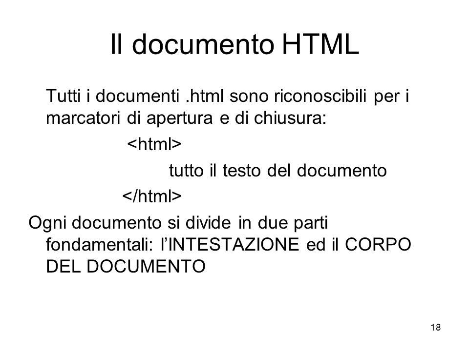 18 Il documento HTML Tutti i documenti.html sono riconoscibili per i marcatori di apertura e di chiusura: tutto il testo del documento Ogni documento