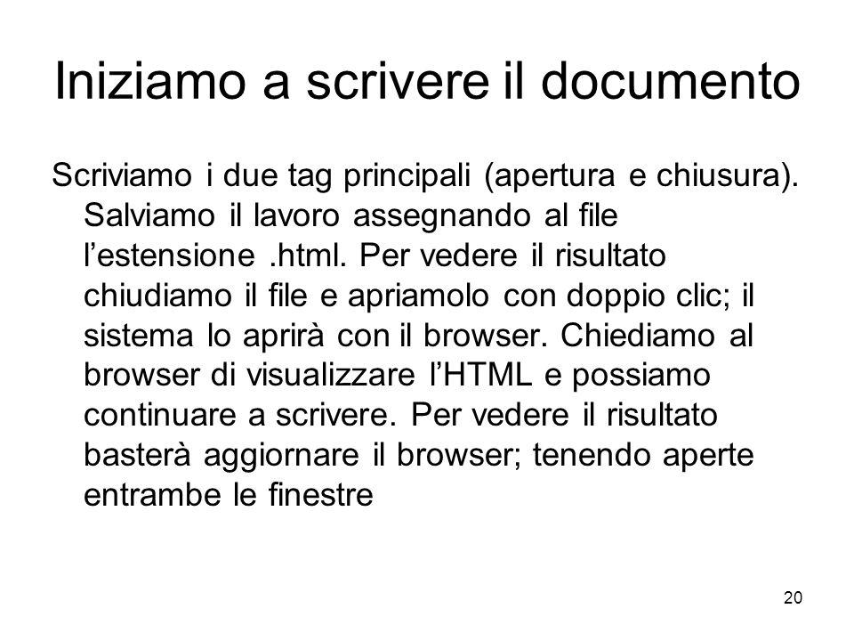 20 Iniziamo a scrivere il documento Scriviamo i due tag principali (apertura e chiusura). Salviamo il lavoro assegnando al file lestensione.html. Per