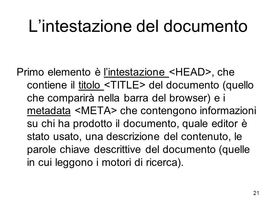 21 Lintestazione del documento Primo elemento è lintestazione, che contiene il titolo del documento (quello che comparirà nella barra del browser) e i