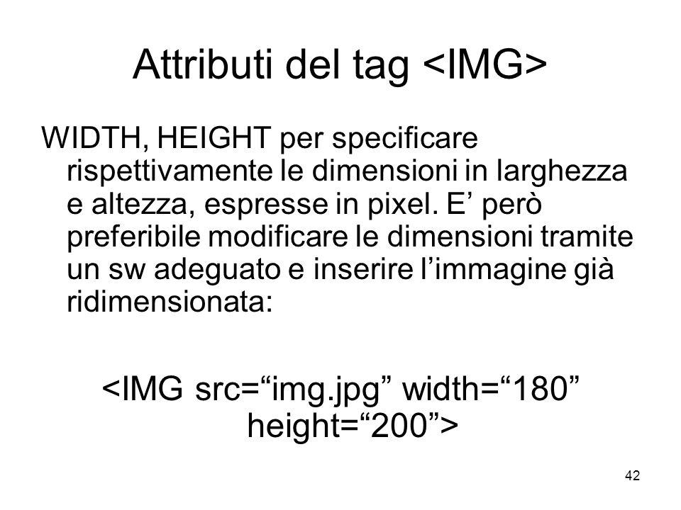 42 Attributi del tag WIDTH, HEIGHT per specificare rispettivamente le dimensioni in larghezza e altezza, espresse in pixel. E però preferibile modific
