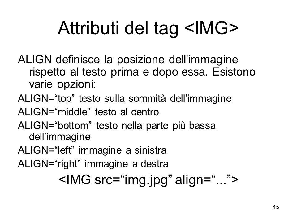 45 Attributi del tag ALIGN definisce la posizione dellimmagine rispetto al testo prima e dopo essa. Esistono varie opzioni: ALIGN=top testo sulla somm