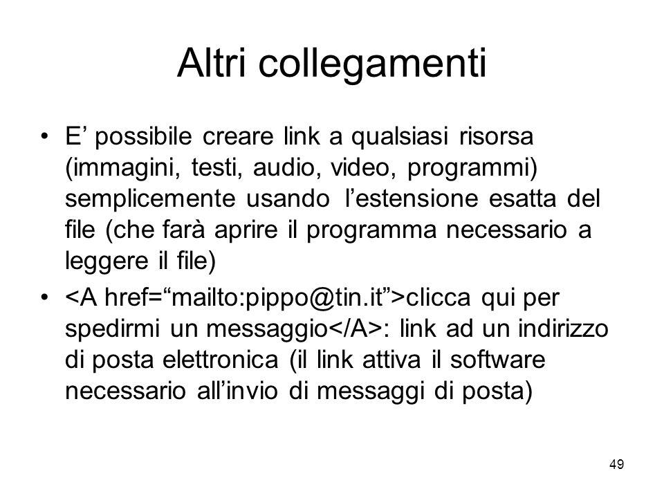 49 Altri collegamenti E possibile creare link a qualsiasi risorsa (immagini, testi, audio, video, programmi) semplicemente usando lestensione esatta d
