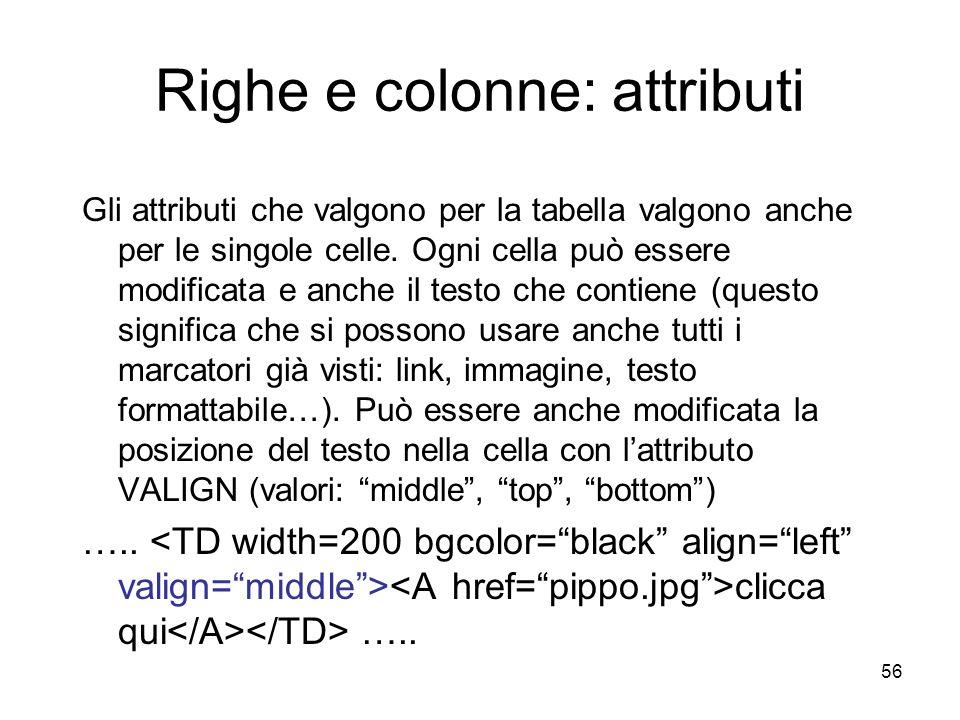 56 Righe e colonne: attributi Gli attributi che valgono per la tabella valgono anche per le singole celle. Ogni cella può essere modificata e anche il