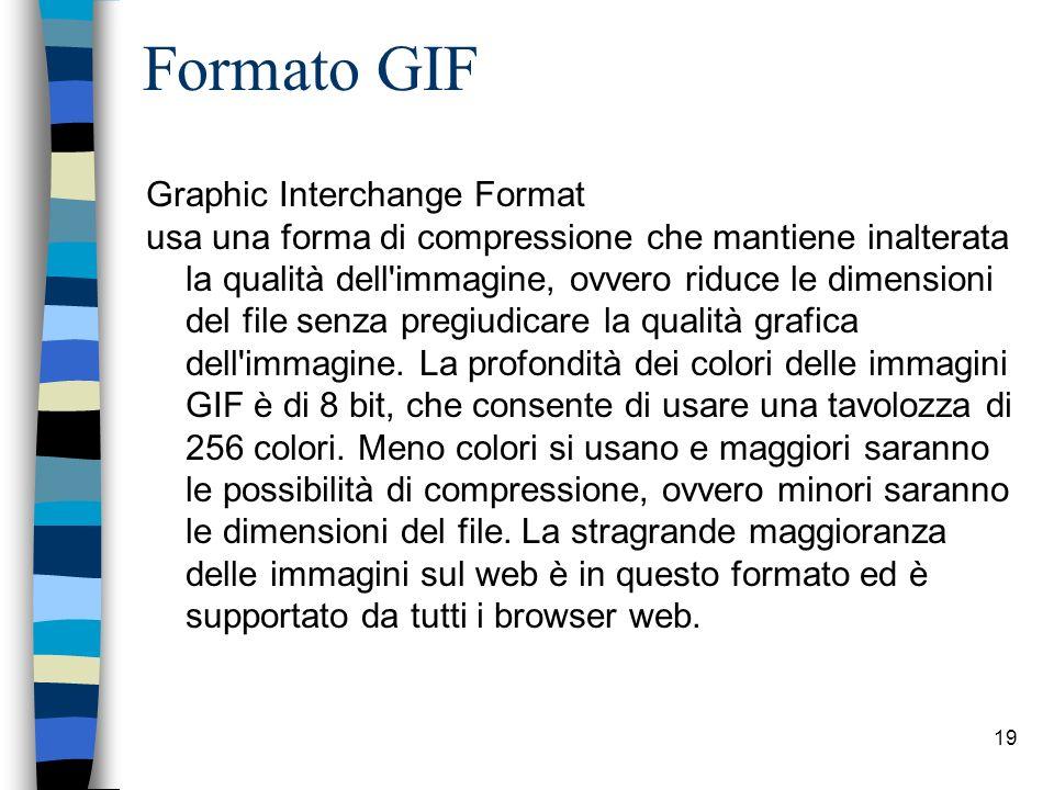 18 Immagini digitali: formati n Tre sono i formati di compressione delle immagini, utilizzati nel Web: –Il formato GIF –Il formato JPEG –Il formato PNG n Attenzione a non inserire immagini troppo pesanti; n Evitare di sovraccaricare la pagina con troppe immagini.