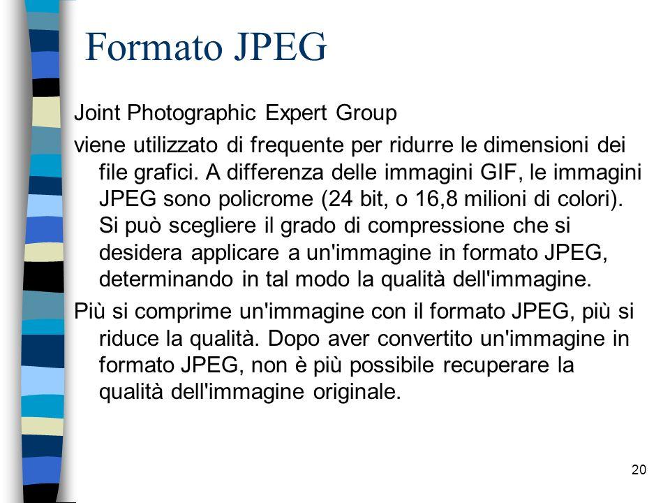 19 Formato GIF Graphic Interchange Format usa una forma di compressione che mantiene inalterata la qualità dell immagine, ovvero riduce le dimensioni del file senza pregiudicare la qualità grafica dell immagine.