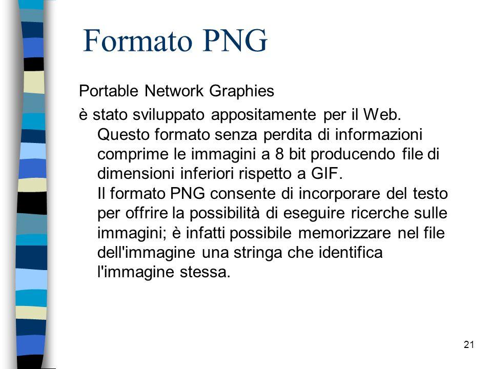 20 Formato JPEG Joint Photographic Expert Group viene utilizzato di frequente per ridurre le dimensioni dei file grafici. A differenza delle immagini