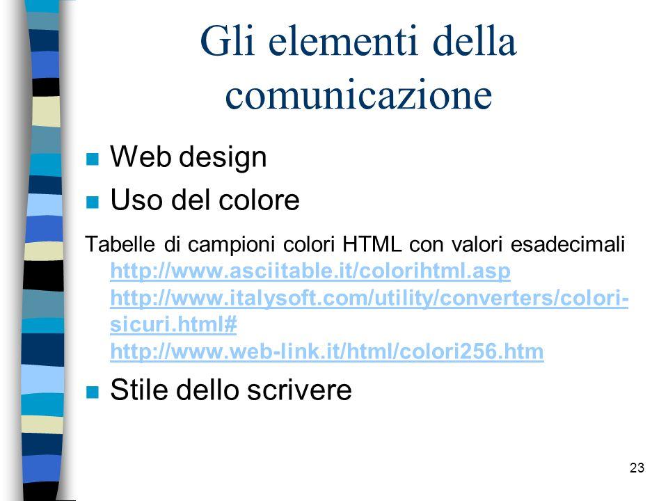 22 2. Comunicazione n Siti Web di qualità devono presentare unadeguata comprensibilità e chiarezza comunicativa combinando contenuti e design in modo