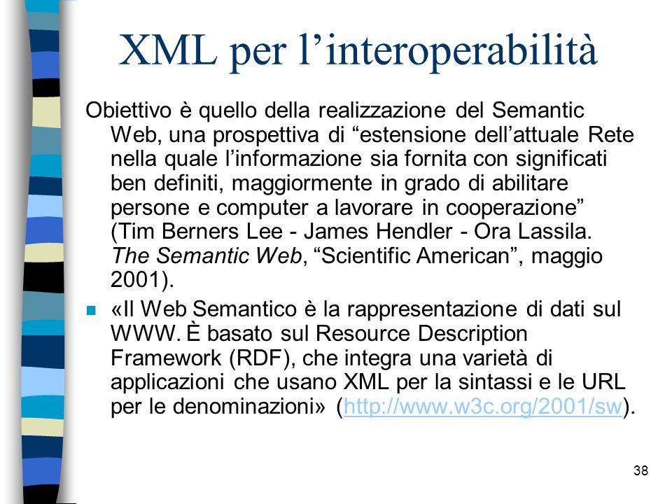 37 6. Interoperabilità n linteroperabilità tecnica, concernente problemi tecnici di collegamento tra sistemi, la definizione delle interfacce, il form