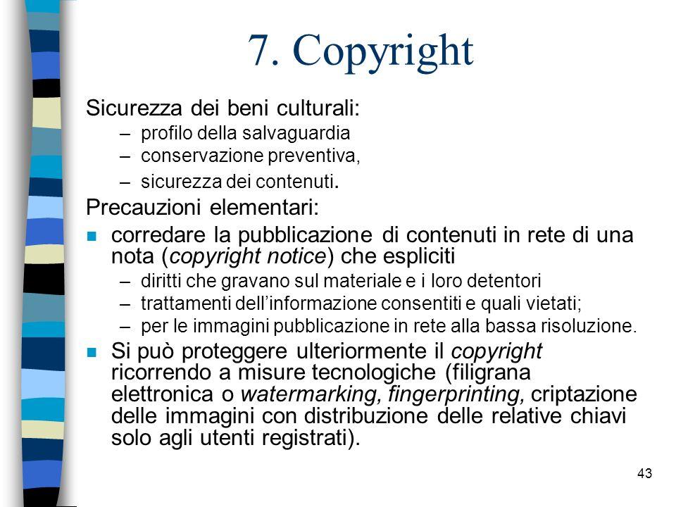 42 I Metadati / 3 Schemi di metadati cui fare riferimento: n Dublin Core, una serie di 15 elementi descrittivo- semantici (titolo; autore o creatore; soggetto, classe o parole chiave; abstract, indice o altri generi di descrizione del contenuto; editore; eventuali ulteriori responsabili; data; tipo di risorsa; formato dei dati; URL, ISBN, DOI o altro identificatore; fonte di provenienza; lingua; relazioni con altri documenti; copertura spaziale e/o temporale; indicazioni sul copyright) elaborati da un consorzio internazionale per consentire una descrizione minima di qualsiasi tipo di risorsa digitale; n MAG dellICCU, elaborati da un apposito gruppo di studio per standardizzare i metadati necessari alla gestione dei documenti digitalizzati nellambito del progetto Biblioteca Digitale Italiana; n DOI (digital object identifier), creato in ambiente editoriale, è una specie di ISBN fornito a pagamento da agenzie coordinate a livello internazionale.