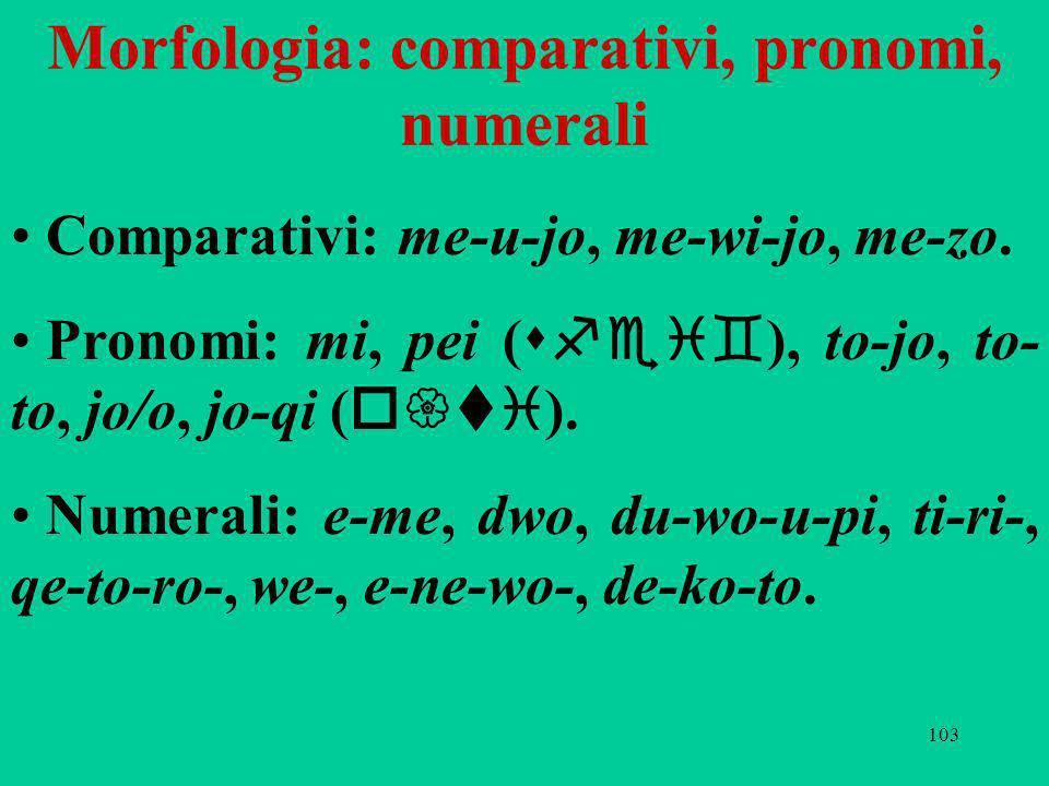 103 Morfologia: comparativi, pronomi, numerali Comparativi: me-u-jo, me-wi-jo, me-zo. Pronomi: mi, pei ( sfei` ), to-jo, to- to, jo/o, jo-qi ( o{ti ).
