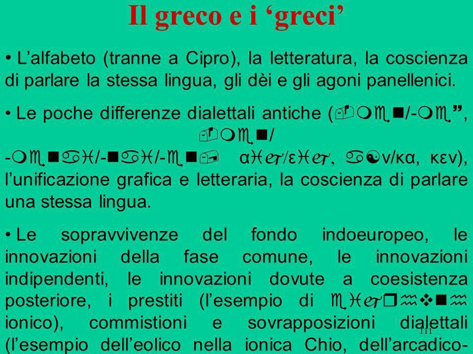 111 Il greco e i greci Lalfabeto (tranne a Cipro), la letteratura, la coscienza di parlare la stessa lingua, gli dèi e gli agoni panellenici.