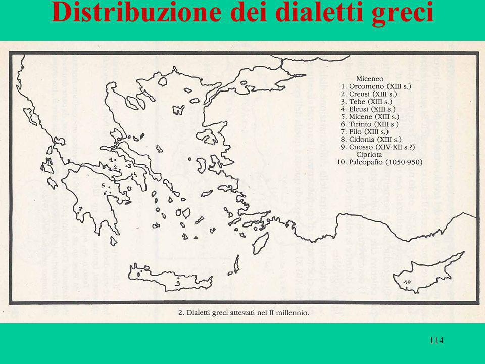 114 Distribuzione dei dialetti greci