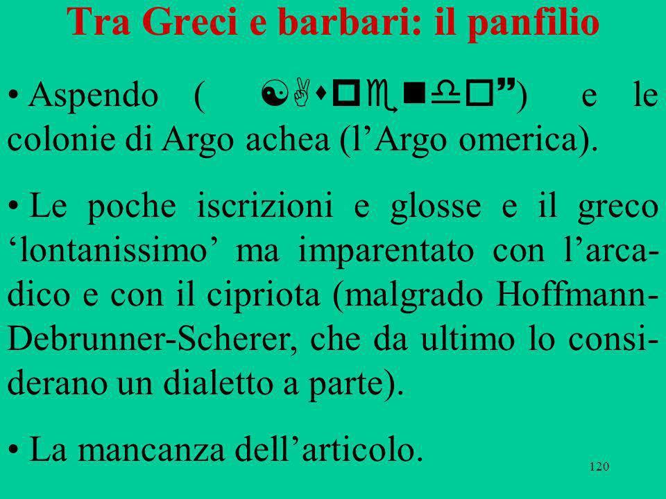 120 Tra Greci e barbari: il panfilio Aspendo ( [Aspendo~ ) e le colonie di Argo achea (lArgo omerica). Le poche iscrizioni e glosse e il greco lontani