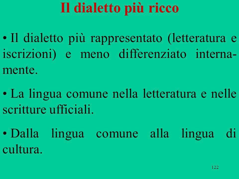 122 Il dialetto più ricco Il dialetto più rappresentato (letteratura e iscrizioni) e meno differenziato interna- mente. La lingua comune nella lettera