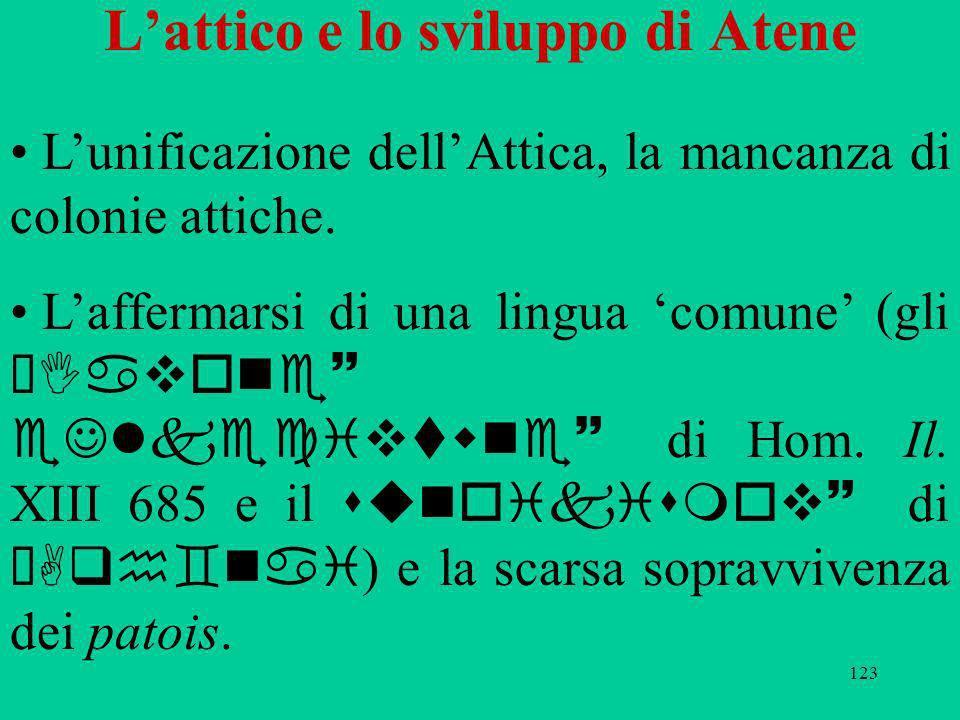 123 Lattico e lo sviluppo di Atene Lunificazione dellAttica, la mancanza di colonie attiche. Laffermarsi di una lingua comune (gli ÆIavone~ eJlkecivtw
