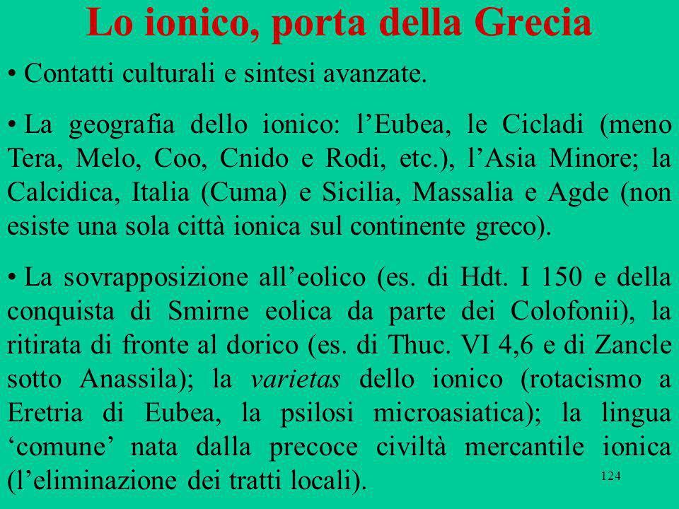 124 Lo ionico, porta della Grecia Contatti culturali e sintesi avanzate. La geografia dello ionico: lEubea, le Cicladi (meno Tera, Melo, Coo, Cnido e