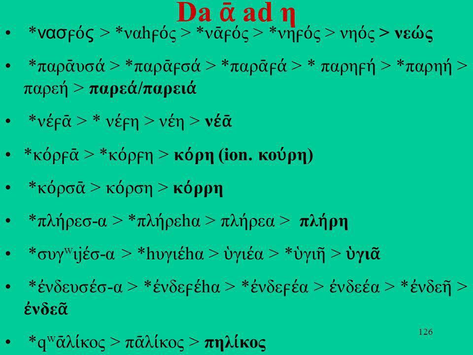 126 Da ad η * νασ ς > *ναh ς > *ν ς > *νη ς > νη ς > νε ς *παρ υσ > *παρ σ > *παρ > * παρη > *παρη > παρε > παρε /παρει *ν > * ν η > ν η > ν *κ ρ > *κ ρη > κ ρη (ion.