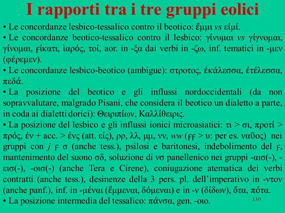 130 I rapporti tra i tre gruppi eolici Le concordanze lesbico-tessalico contro il beotico: μμι vs ε μ. Le concordanze beotico-tessalico contro il lesb