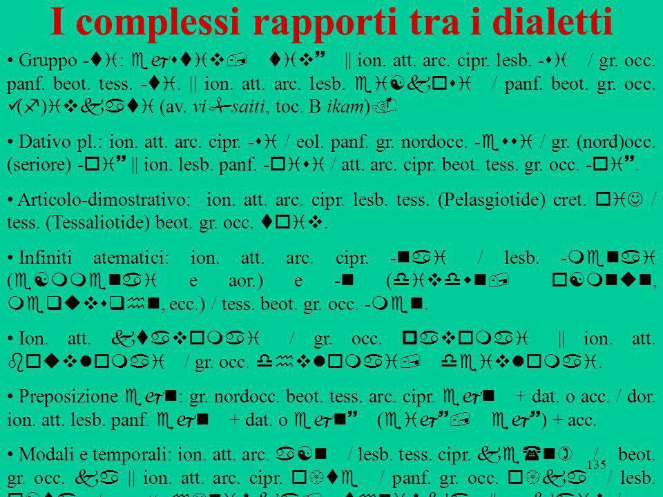 135 I complessi rapporti tra i dialetti Gruppo ti : ejstiv, tiv~ || ion. att. arc. cipr. lesb. si / gr. occ. panf. beot. tess. ti. || ion. att. arc. l