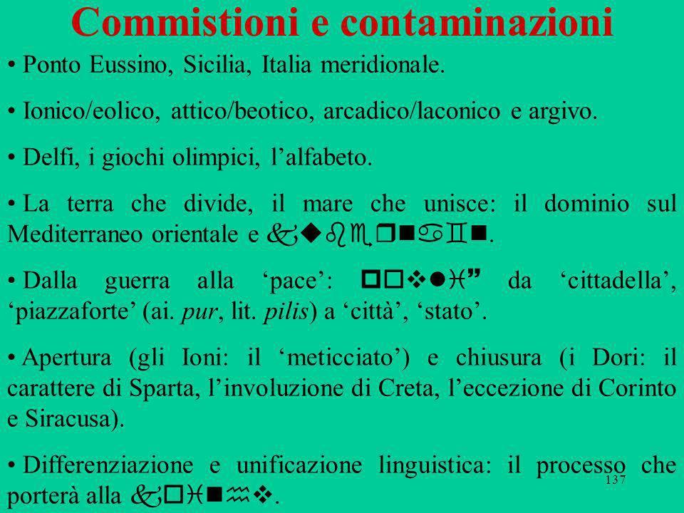 137 Commistioni e contaminazioni Ponto Eussino, Sicilia, Italia meridionale. Ionico/eolico, attico/beotico, arcadico/laconico e argivo. Delfi, i gioch