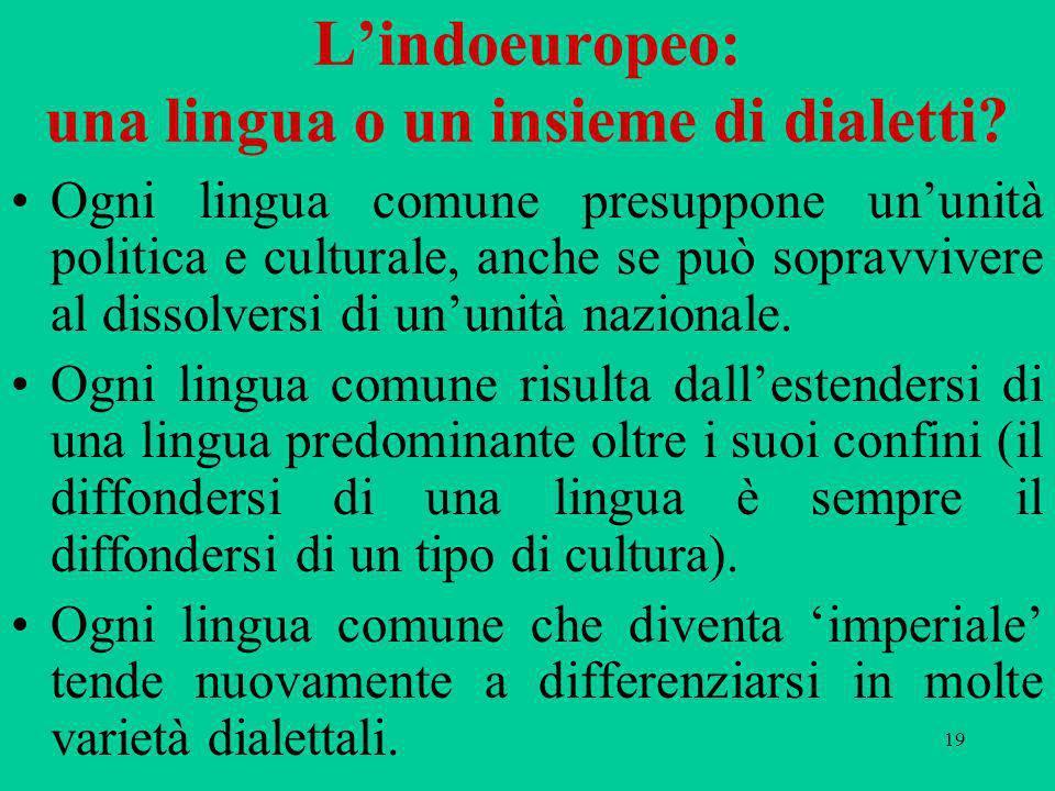 19 Lindoeuropeo: una lingua o un insieme di dialetti? Ogni lingua comune presuppone ununità politica e culturale, anche se può sopravvivere al dissolv