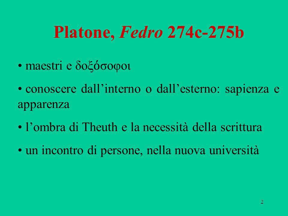 2 Platone, Fedro 274c-275b maestri e δοξ σοφοι conoscere dallinterno o dallesterno: sapienza e apparenza lombra di Theuth e la necessità della scrittu