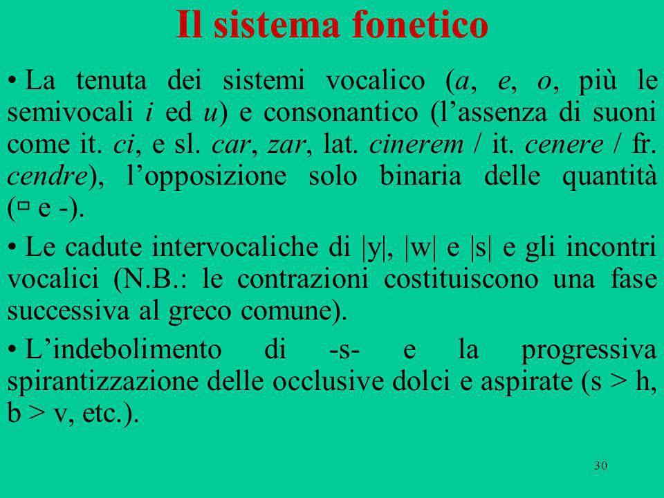 30 Il sistema fonetico La tenuta dei sistemi vocalico (a, e, o, più le semivocali i ed u) e consonantico (lassenza di suoni come it.