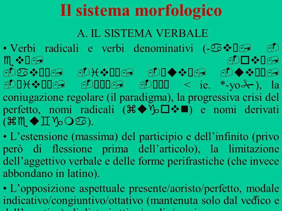 35 Il sistema morfologico A. IL SISTEMA VERBALE Verbi radicali e verbi denominativi (- avω, - evω, -ovω, -avζω, -ivζω, -εuvω, -uvνω, -αivνω, πτω, σσω