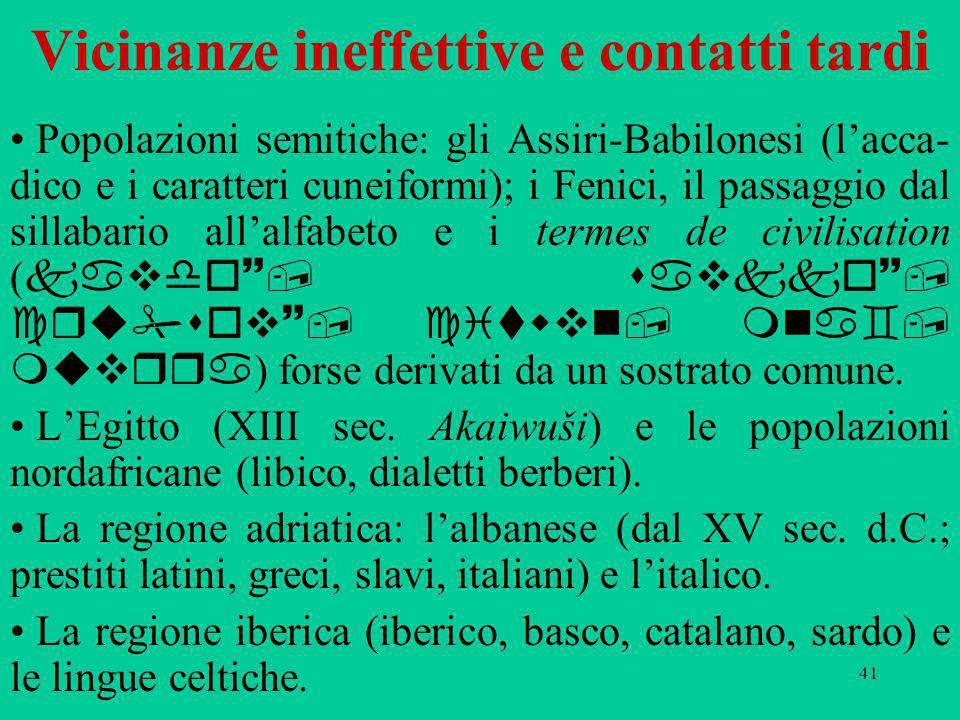 41 Vicinanze ineffettive e contatti tardi Popolazioni semitiche: gli Assiri-Babilonesi (lacca- dico e i caratteri cuneiformi); i Fenici, il passaggio