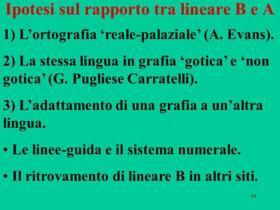 58 Ipotesi sul rapporto tra lineare B e A 1) Lortografia reale-palaziale (A.