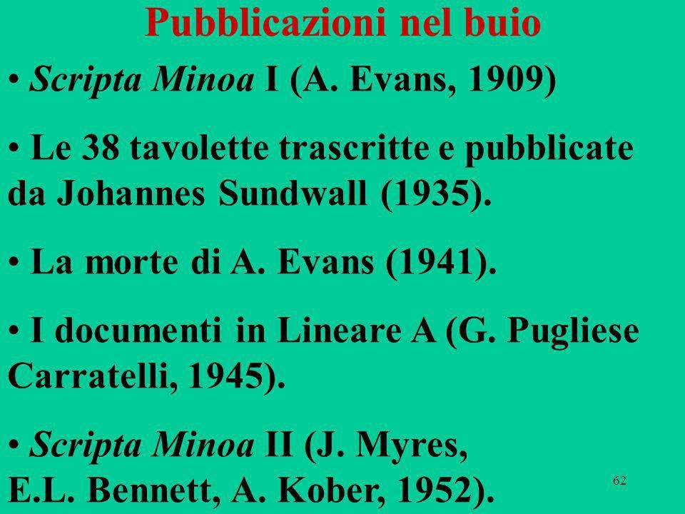 62 Pubblicazioni nel buio Scripta Minoa I (A. Evans, 1909) Le 38 tavolette trascritte e pubblicate da Johannes Sundwall (1935). La morte di A. Evans (