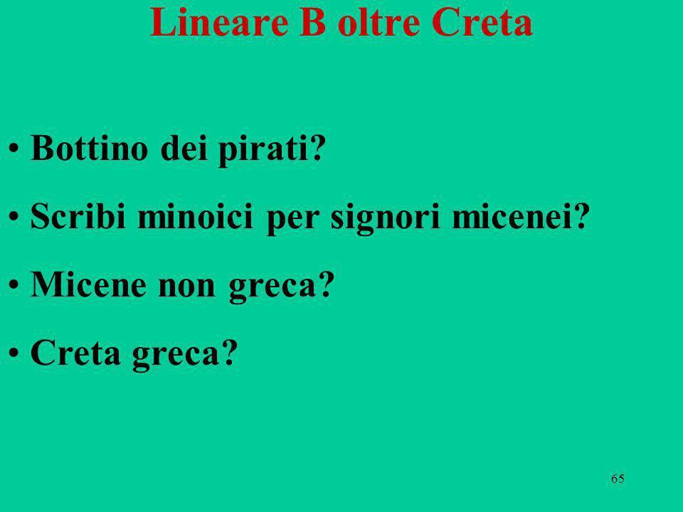 65 Lineare B oltre Creta Bottino dei pirati? Scribi minoici per signori micenei? Micene non greca? Creta greca?
