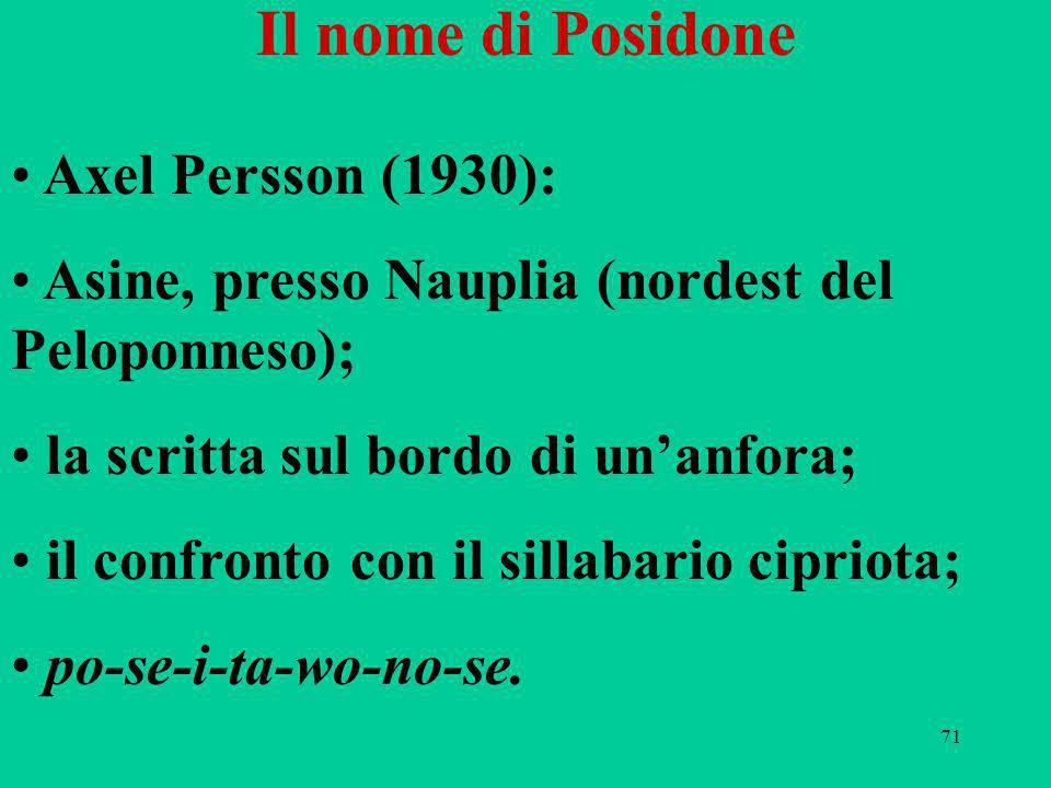 71 Il nome di Posidone Axel Persson (1930): Asine, presso Nauplia (nordest del Peloponneso); la scritta sul bordo di unanfora; il confronto con il sillabario cipriota; po-se-i-ta-wo-no-se.