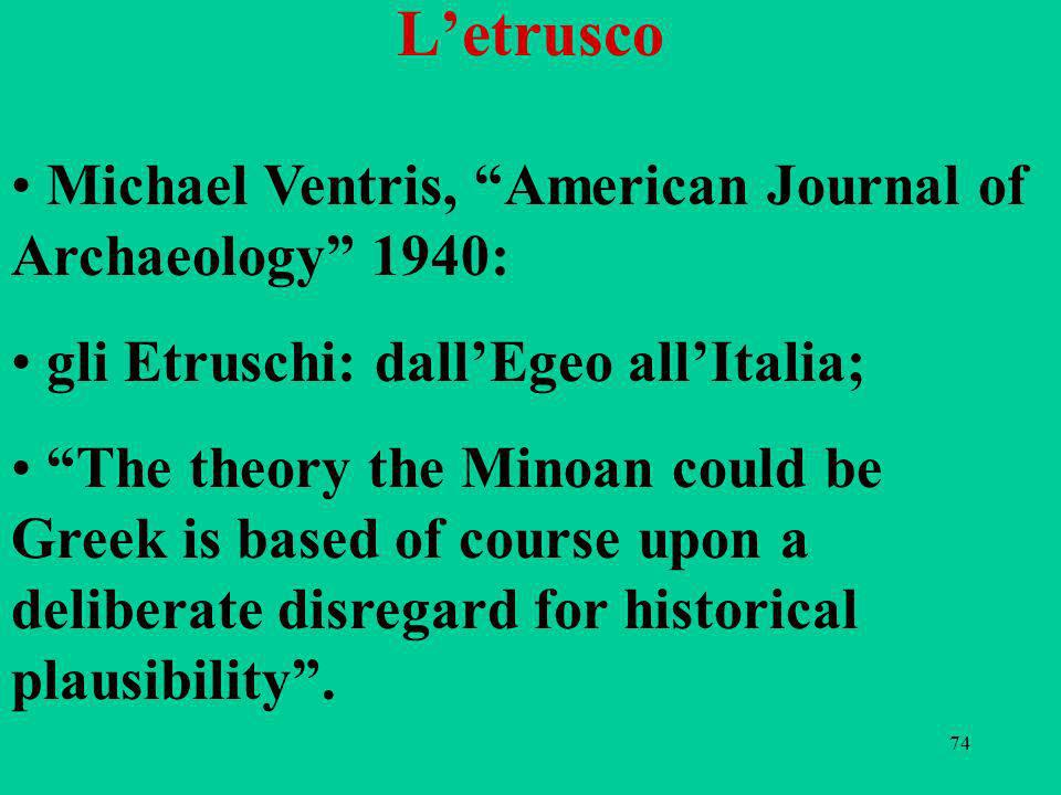 74 Letrusco Michael Ventris, American Journal of Archaeology 1940: gli Etruschi: dallEgeo allItalia; The theory the Minoan could be Greek is based of