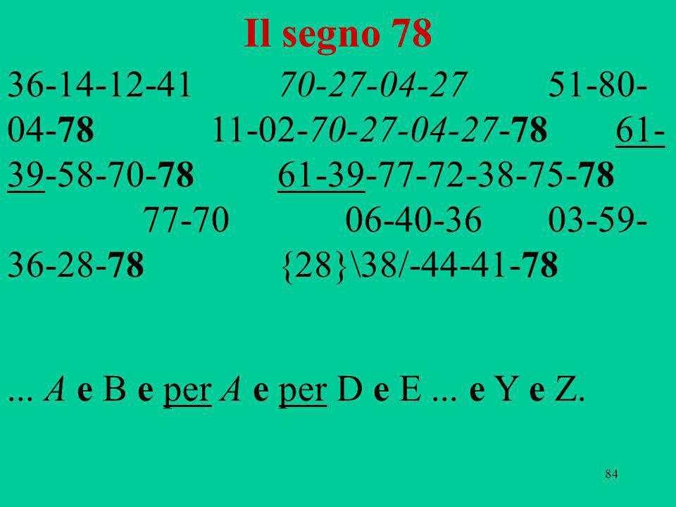 84 Il segno 78 36-14-12-4170-27-04-2751-80- 04-7811-02-70-27-04-27-7861- 39-58-70-78 61-39-77-72-38-75-78 77-7006-40-3603-59- 36-28-78{28}\38/-44-41-7