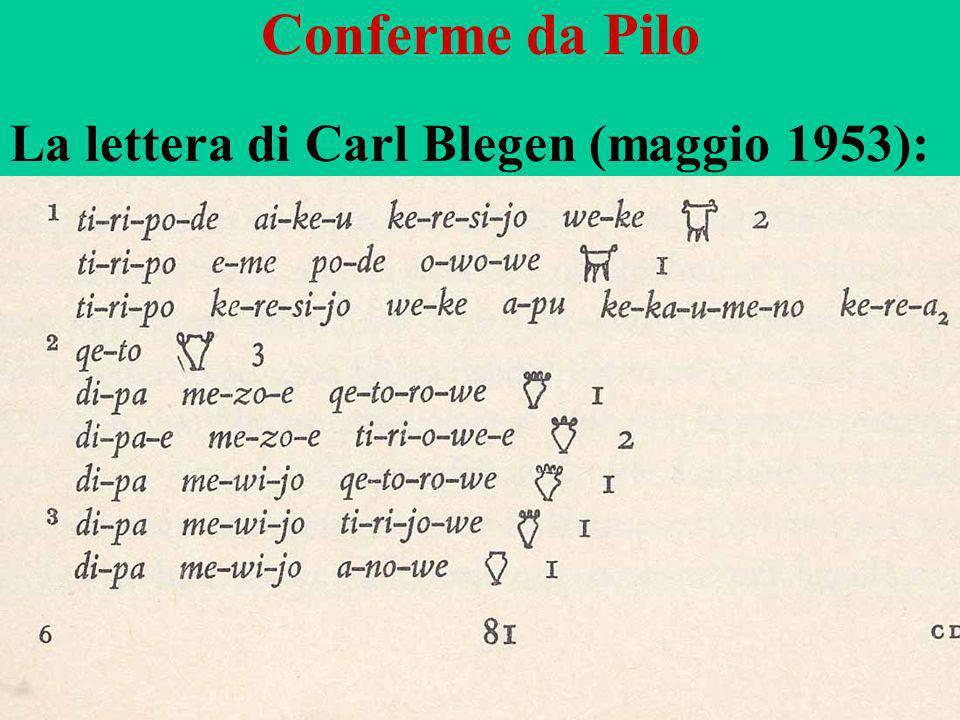 92 Conferme da Pilo La lettera di Carl Blegen (maggio 1953):